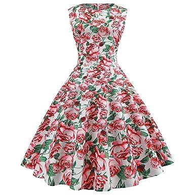 Women Dress Godathe Women Vintage Sleeveless O Neck Evening Printing Party Prom Swing Dress S-