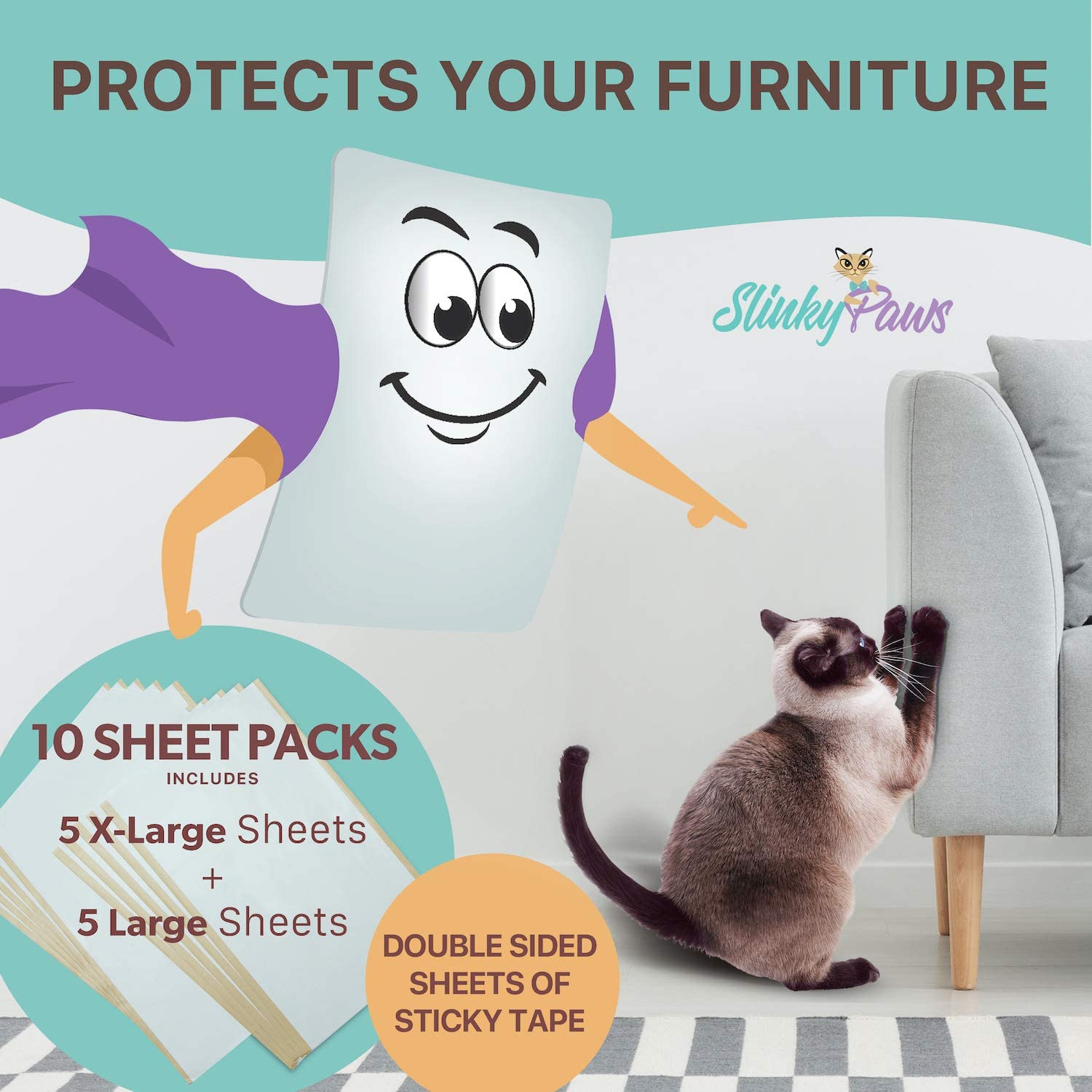 Slinky Paws Cat Scratch Furniture Protector and Scratch Deterrent Tape Will Shield Your Furniture from cat Claws While Training Your Feline to use Their Scratch Post