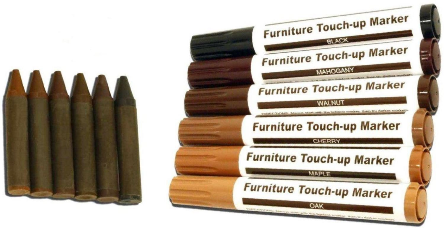 Furniture Repair – Touch up Markers - Scratch Restore & Repair Touch-Up Kit System. For Stains, Scratches, Wood Floors, Tables, Desks, Carpenters, Bedposts Felt Tip Markers (12 PC Furniture Repair)