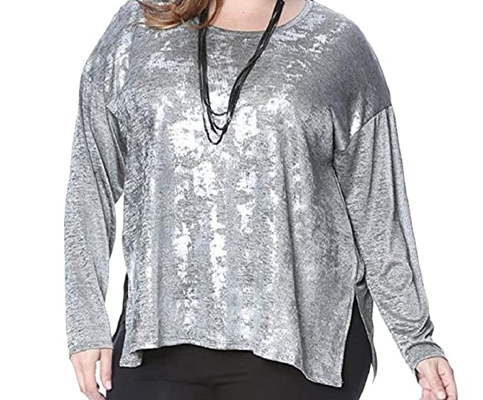Coolred Women Splicing Long Sleeve Round Neck Cut Out Plus Size