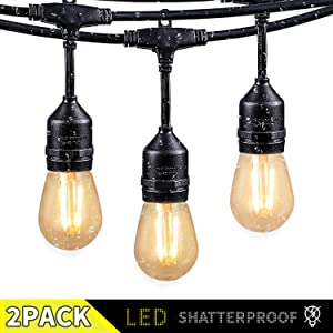 2 Pack 48FT Outdoor String Lights with 15 Shatterproof LED S14 Edison Bulbs-UL Listed Commercial Patio Lights for Deck Backyard Porch Balcony Bistro Cafe Pergola Gazebo Market Garden Decor, Warm White