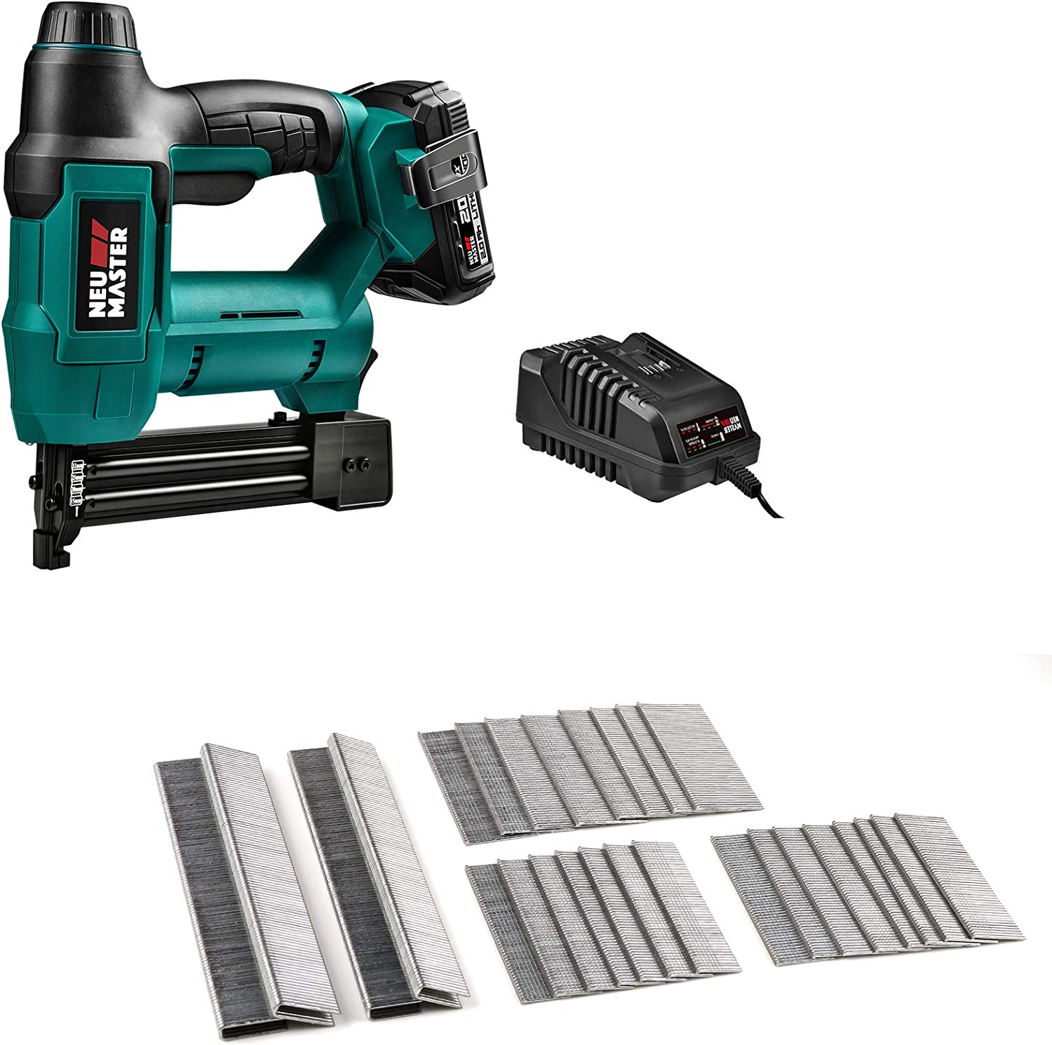 Cordless Brad Nailer (2.0Ah Battery and Charger Included) and 1600-Count NEU MASTER Heavy Duty Type600 Staples and 18GA Brad Nails