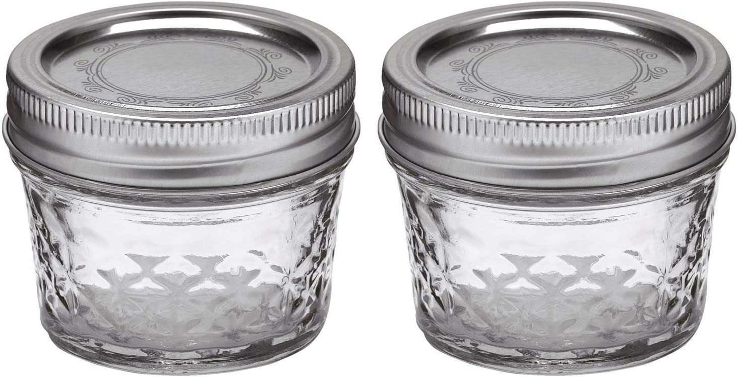 Ball Mason 4oz Quilted Jelly Jars with Lids and Bands, Set of 2
