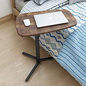 WEWE Carbon Steel Laptop Stand with Brown Density Panel Height Adjustable Swivel Casters with Lock Home Office Desk Table Hospital Food Tray Desk with Lockable Swivel Casters