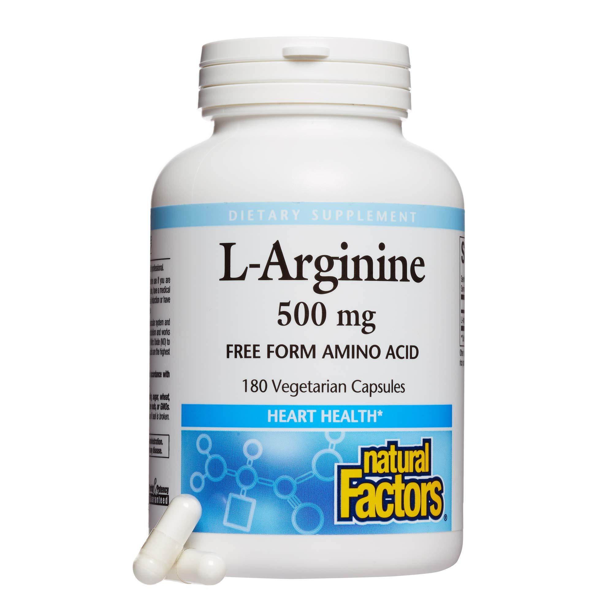 Natural Factors - L-Arginine, Supports Muscle Metabolism, 180 Vegetarian Capsules