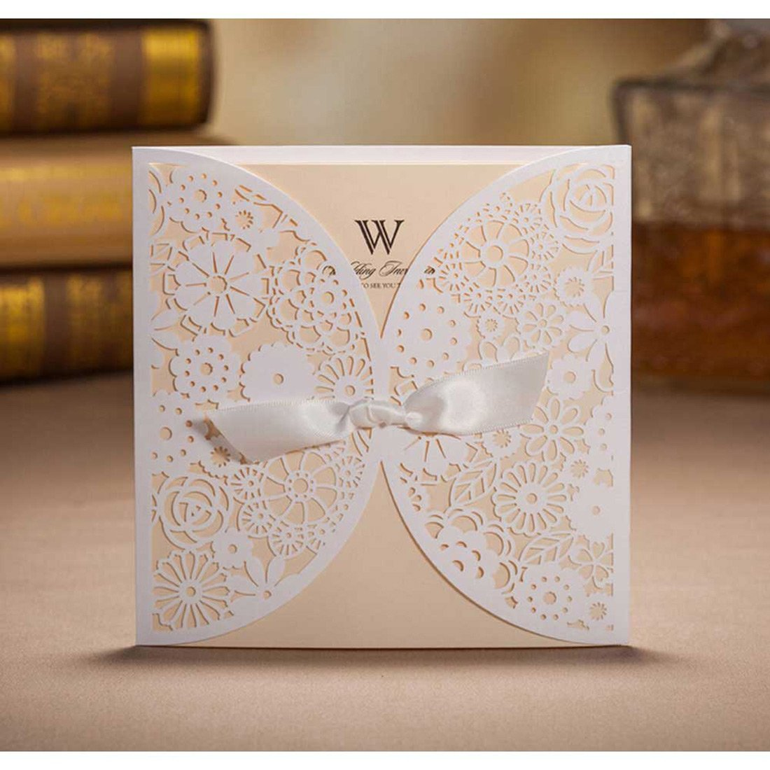 Amazon wishmade 50 count set laser cut invitations cards kits amazon wishmade 50 count set laser cut invitations cards kits white for wedding bridal shower birthday with ribbon tri fold printable paper and monicamarmolfo Choice Image