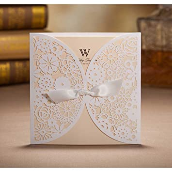 WISHMADE 50 Count Set Laser Cut Invitations Cards Kits White For Wedding  Bridal Shower Birthday With