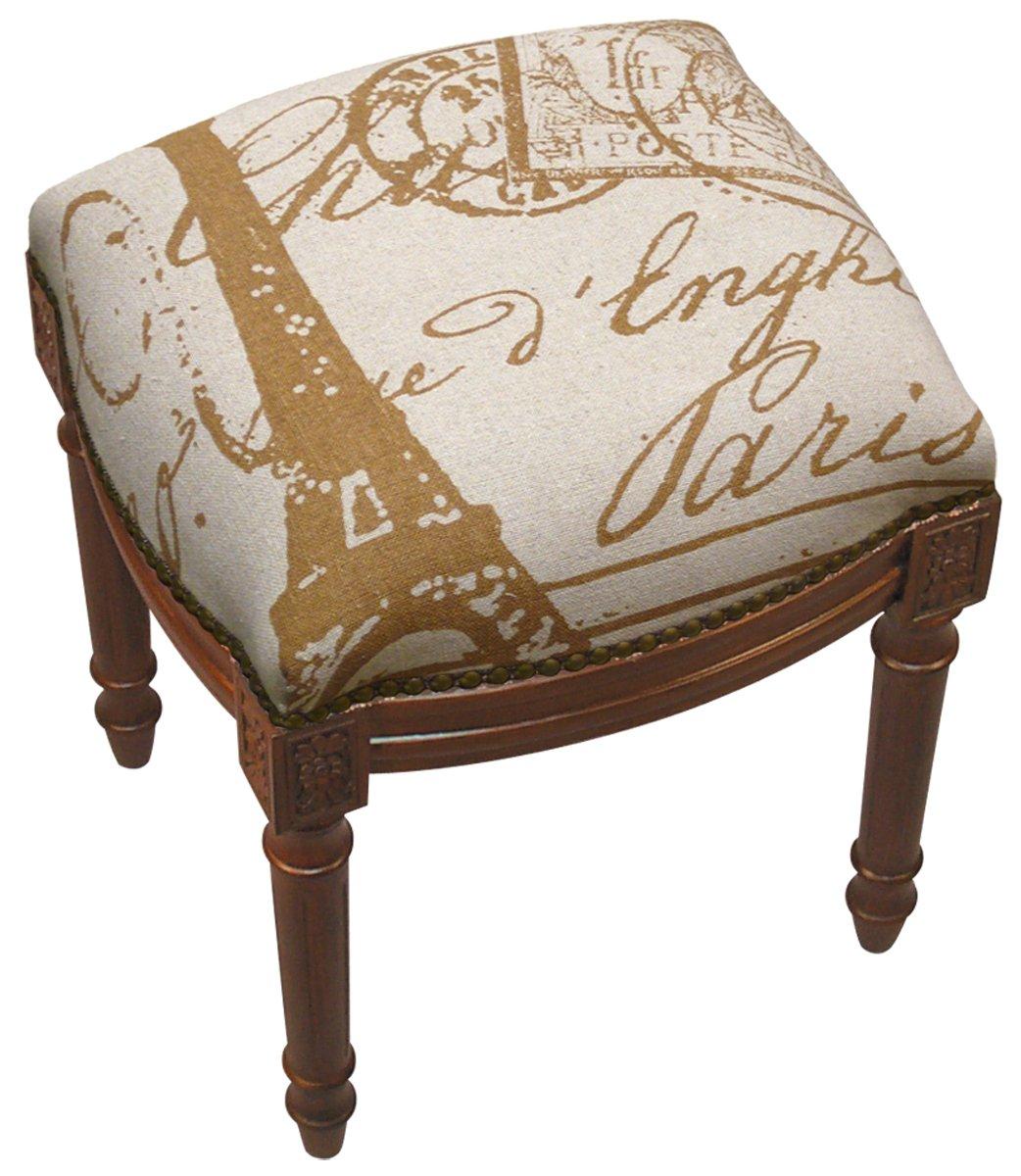 SketchONE Linen Upholstered Vanity Stool, Paris