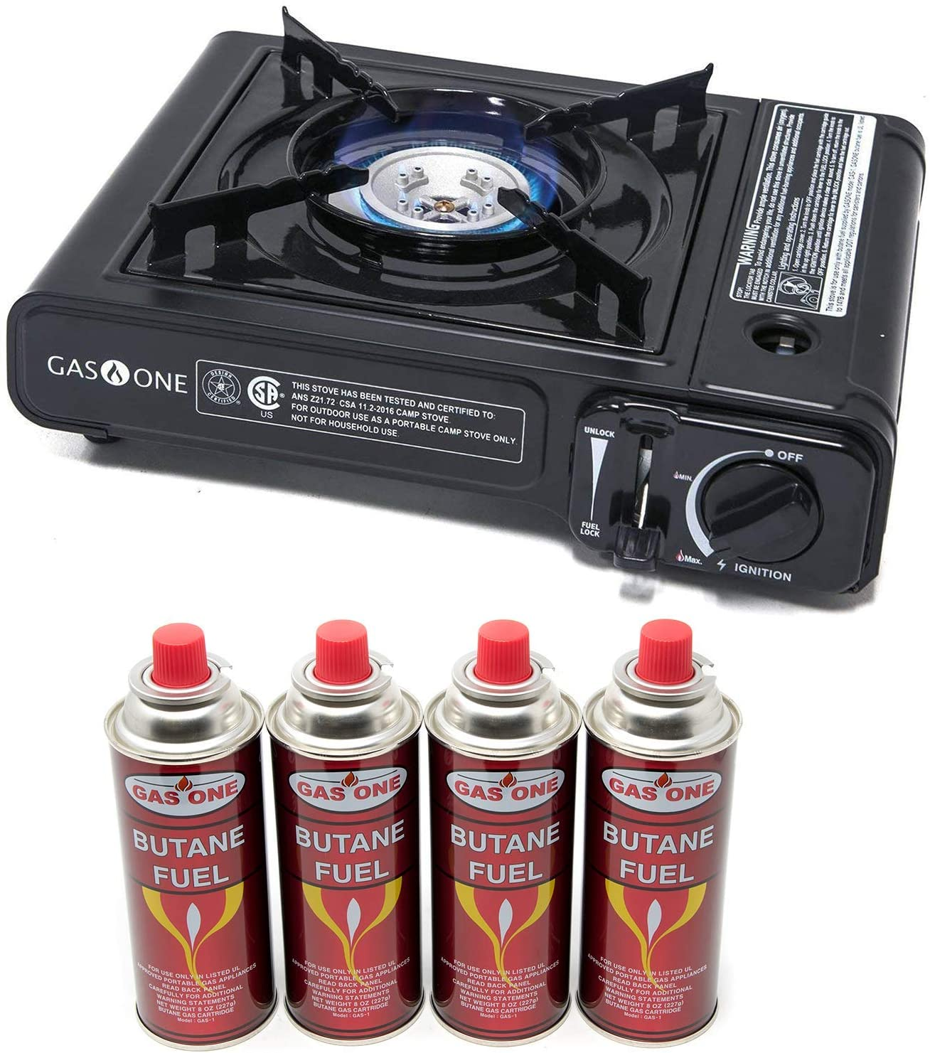 Gas ONE Butane Gas Stove with 4 Butane Fuel Canister Catridge