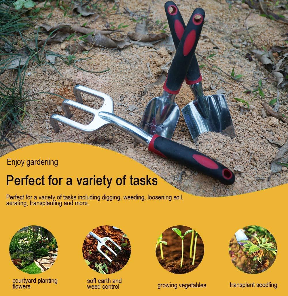 3 Piece Cast-Aluminum Heavy Duty Gardening Kit Includes Hand Trowel ESOW Garden Tool Set Transplant Trowel and Cultivator Hand Rake with Soft Rubberized Non-Slip Ergonomic Handle Garden Gifts