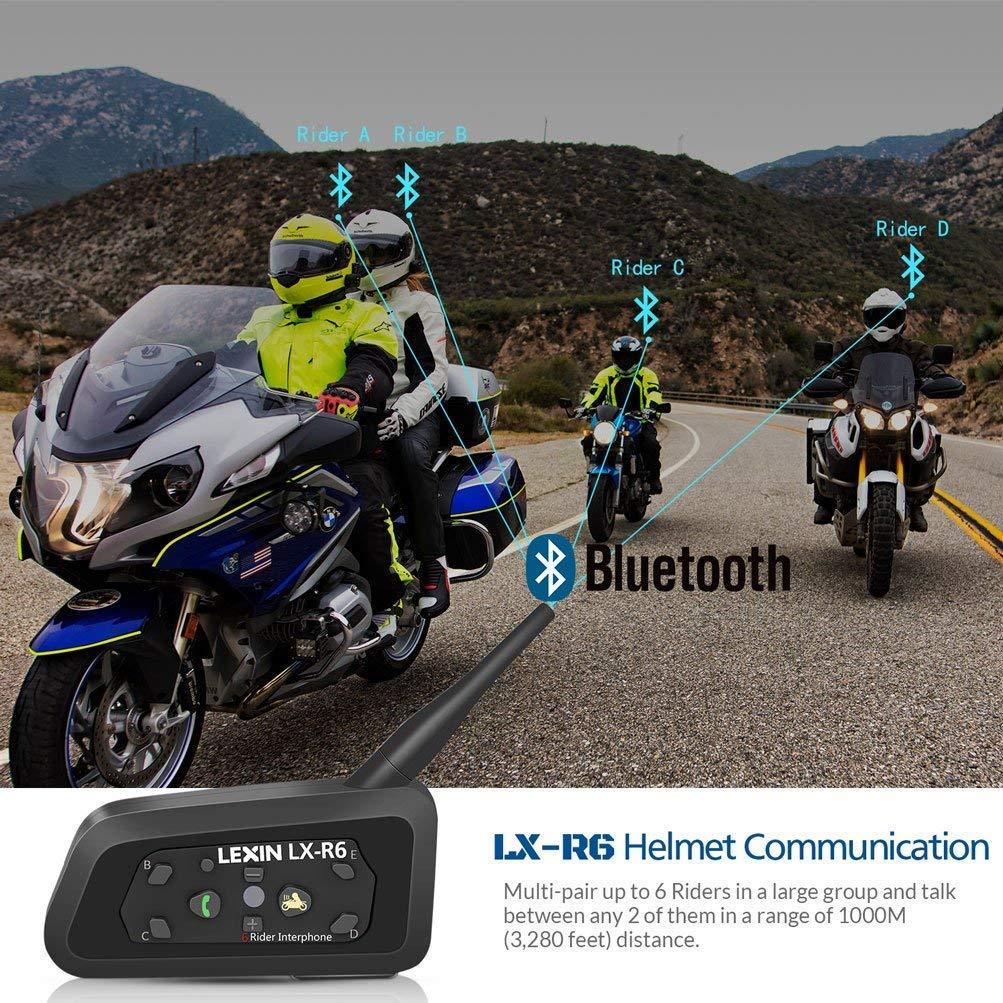 LEXIN LX-R6 Casque dinterphone Bluetooth Casque t/él/éphonique Communicator 1000m Range 6-Rider Interphone