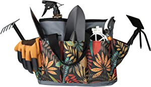 Scuddles Garden Tools Set - Succulent Outdoor Tool, Heavy Duty Gardening Work Set with Ergonomic Handle, with Non-Slip Rubber Grip, Storage Tote Bag,Gifts for Men and Women(Black and Orange)