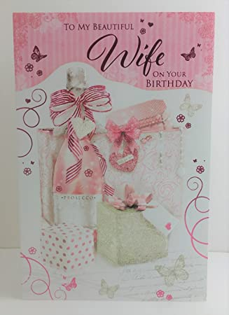 Frau Prosecco Wein Presents Band Butterfly Design Happy Birthday Card