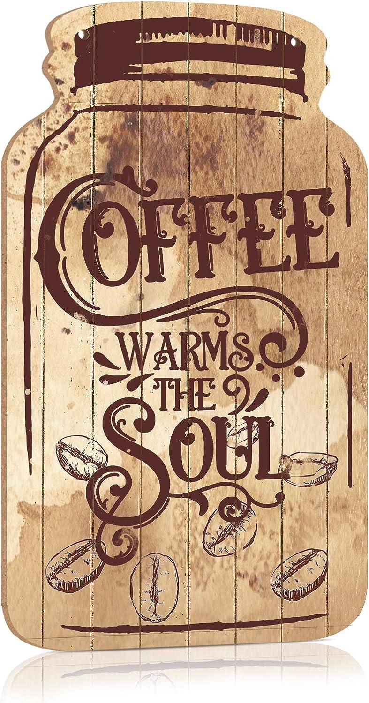 "Putuo Decor Decorative Wood Coffee Sign Mason Jar Wall Hanging Plaque 8.3""x4.5 (Coffee Warms The Soul)"