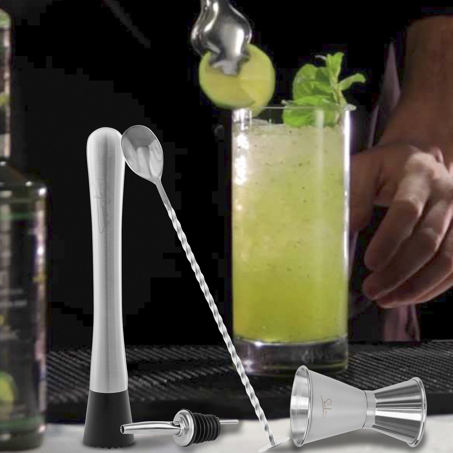 Cocktail Spoon 4 Crafted Stainless Steel Bar Tools Jigger Includes Muddler and Liquor Pourer Professional Grade Bar Tools Essentials Set