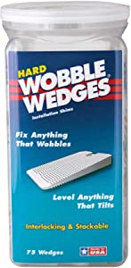 Wobble Wedges Stackable Interlocking Multi-Purpose Leveling Shims –Hard Translucent Plastic – 75 Pack – Level Furniture, Restaurant Tables, Appliances, Plumbing Fixtures, Tables, Fountains, and more