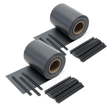WilTec Brise-Vue Rouleau Noir, 70mx19cm PVC 650g/m², avec 20 ...