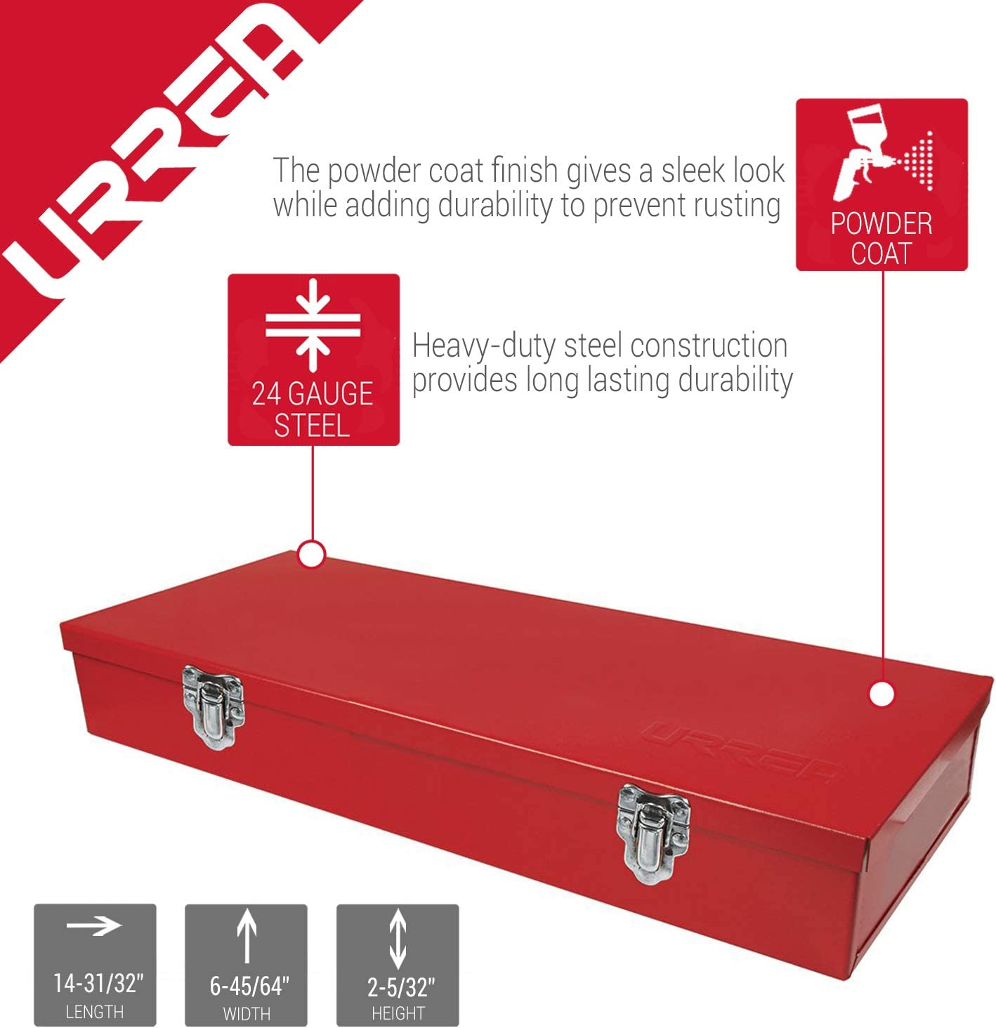 5396 URREA Metal Tool Box 15 x 6.7 x 2.2 Tool Storage//Organization Box with 24 Gauge Construction /& Durable Red Finish