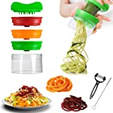Vegetable Spiralizer, TelGoner 3-Blade Spiralizer Vegetable Slicer With Free Cleaning Brush and Peeler, Vegetable Spiralizer Handheld Spaghetti Maker For carrot, cucumber, potato, pumpkin, zucchini Noodle Spaghetti