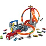 Hot Wheels Spin Storm Track Set Orange Track High Speed Multi-Lane Loops Motorized Booster Ages 6 and Older