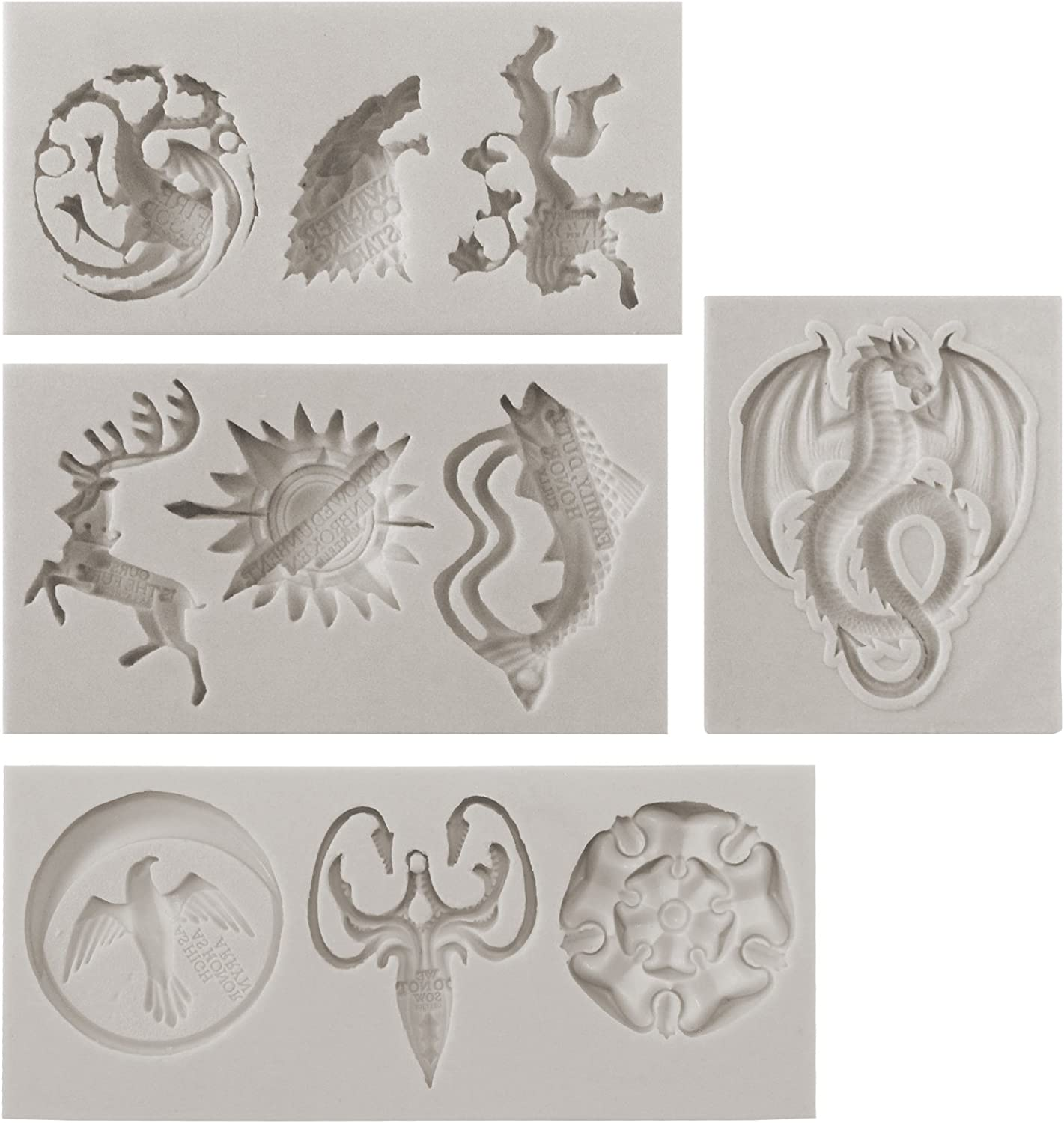 Funshowcase Game Thrones GOT inspired House Sigils and Mottos Silicone Molds for Sugarcraft, Fondant Cake Decoration, Cupcake Topper, Polymer Clay Resin Casting Jewelry and Crafting Projects, 4-in-set