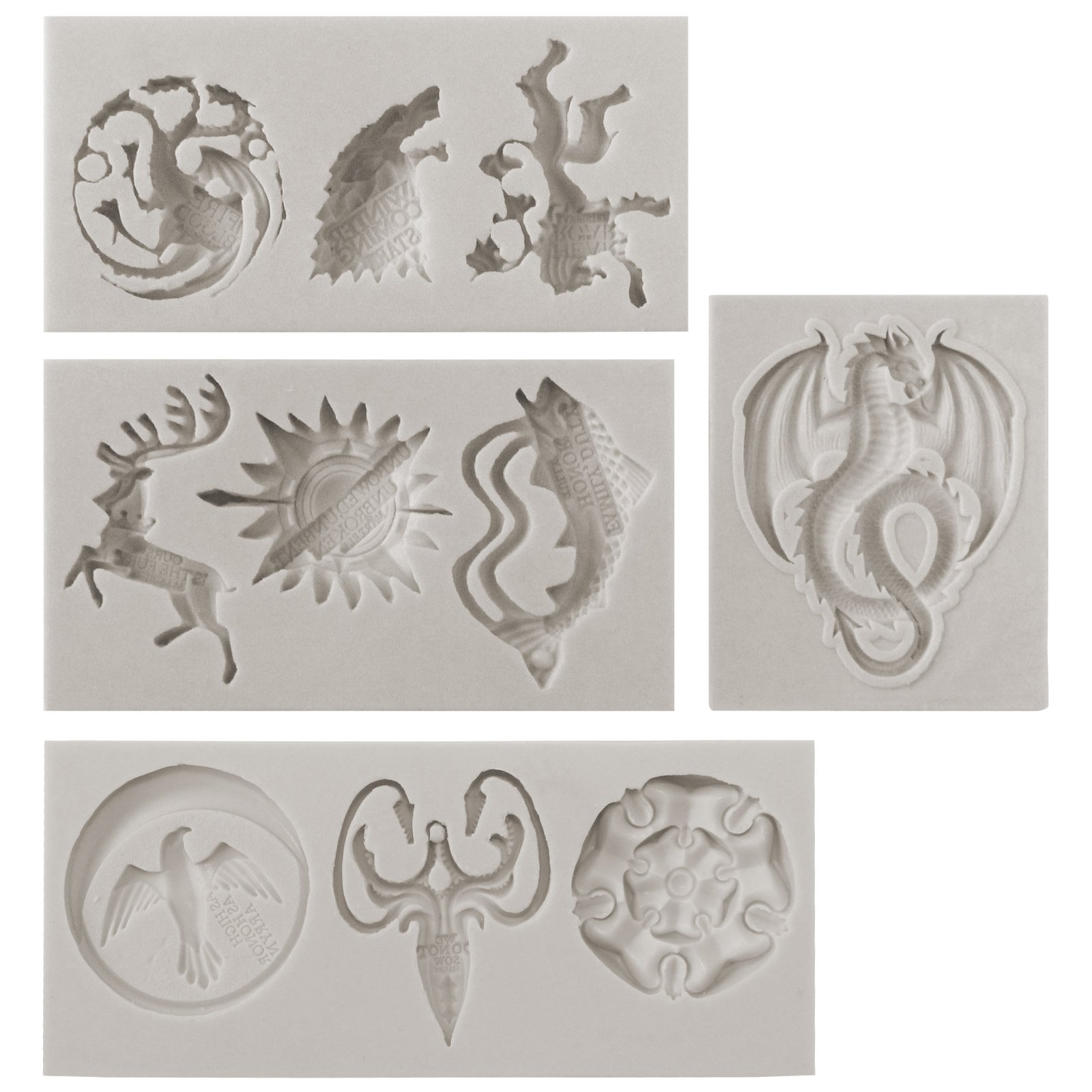 Funshowcase Game Thrones GOT inspired House Sigils and Mottos Silicone Molds for Sugarcraft, Fondant Cake Decoration, Cupcake Topper, Polymer Clay Resin Casting Jewelry and Crafting Projects, 4-in-set by FUNSHOWCASE (Image #2)