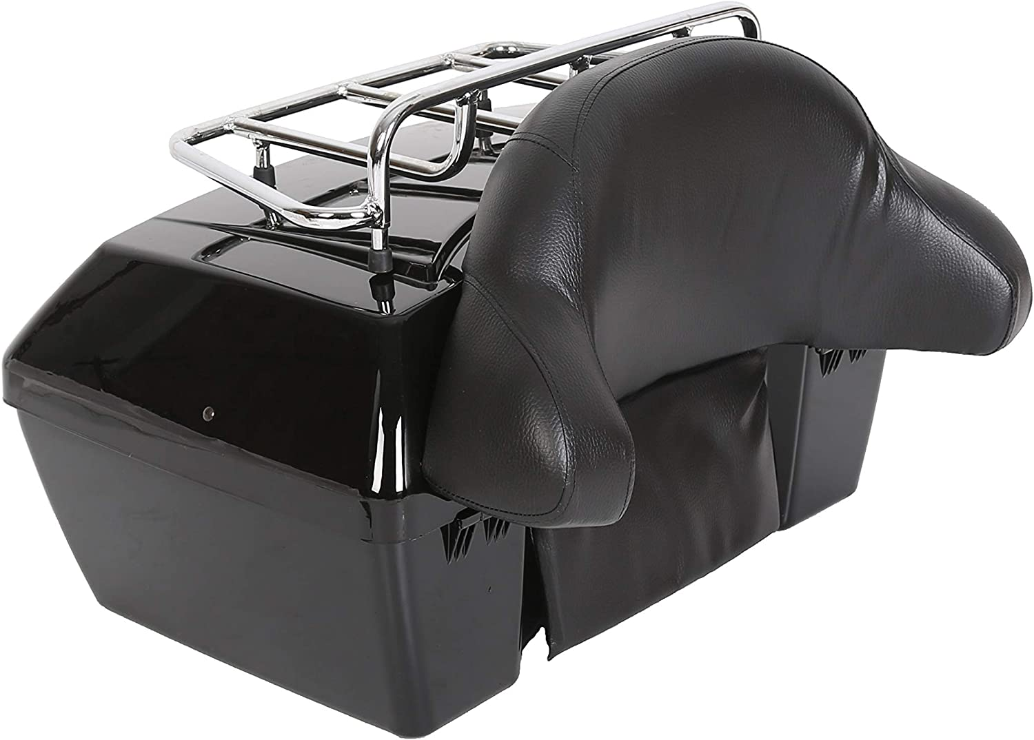 Motorcycle Trunk Tour Pack Tail Box Luggage for Harley Honda Yamaha Suzuki Cruiser with Top Rack and Backrest Classic Black