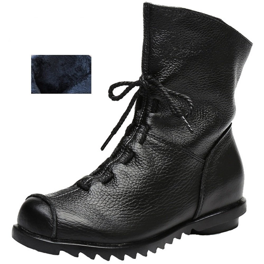 Women's Genuine Leather Casual Soft Flat Boots (8 B(M) US, Black- Fur-Lined)