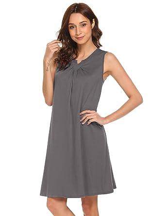 Legros Womens Sexy Nightgown Round Neck Above Knee Sleepwear Dress (Gray 94a6a4c84