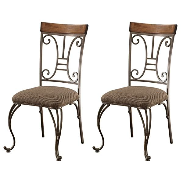 Ashley Furniture Signature Design - Plentywood Dining Room Chair - Set of 4 - Metal and Wood