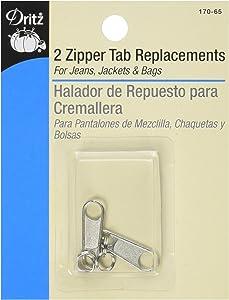 Dritz 170-65 Zipper Tab Replacements, Nickel 2-Count