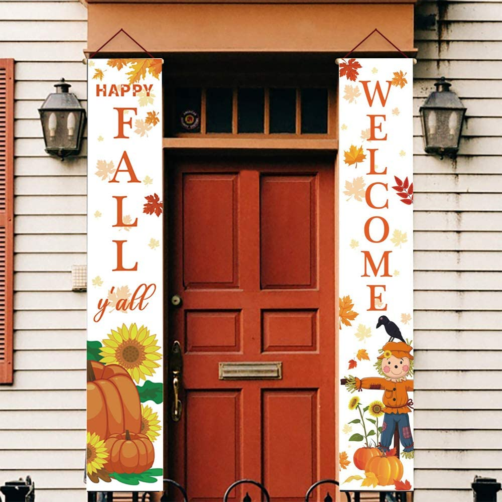 Holly LifePro Happy Fall Banner|Welcome& Happy Fall Y' All Decoration Outdoor Banner | Porch Decorations |Front Door Indoor Display Garden Office Home Party Supplies