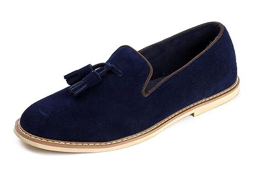 HOMBRE ZAPATOS DE PIEL SIN CIERRES Elegante Borla Ante Moderno Mocasines Informal Talla UK - Azul, 11 UK / 45 EU: Amazon.es: Zapatos y complementos