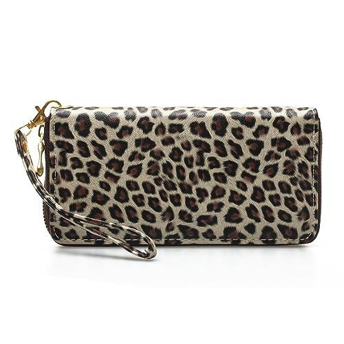 FitTek® Mujer Piel sintética Bolso de mano Cartera Monedero Tarjetero leopardo Beige: Amazon.es: Zapatos y complementos