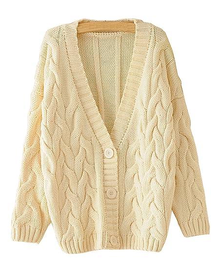 Shineflow Women's Long Sleeve Cable knit Button Down Knitwear ...