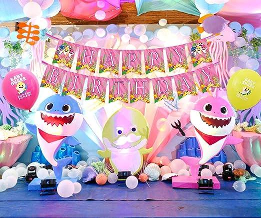 Amazon.com: Baby Shark Party Supplies Decoración de ...