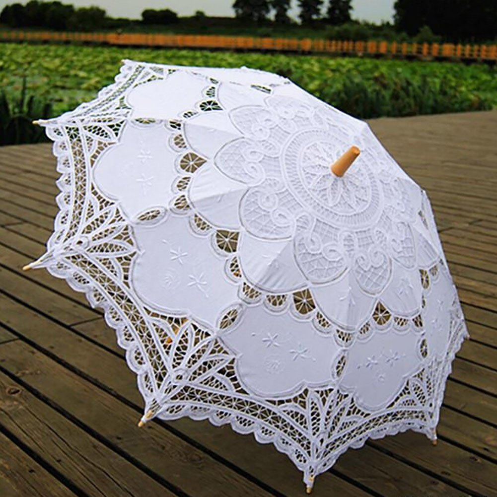 ESHOO Vintage Cotton Lace Parasol Umbrellas for Bridal Wedding Party Decoration Photo Props Lady Costume Accessory