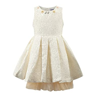 263ded21f92 Fashion World Girls Floral Party Dress Jacquard Princess Dresses for Kids  Color Beige Size 2-