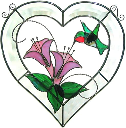 Ruby Throated Hummingbird Stained Glass Beveled Heart