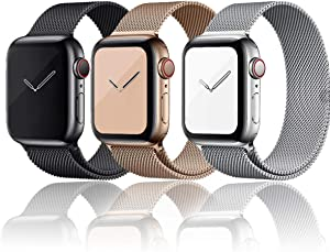 Valband Compatible for Apple Watch Band 38mm 40mm 42mm 44mm, Adjustable Stainless Steel Mesh Wristband Sport Loop for iWatch Series 6/5/4/3/2/1, SE Apple Watch Series 7(42mm/44mm)