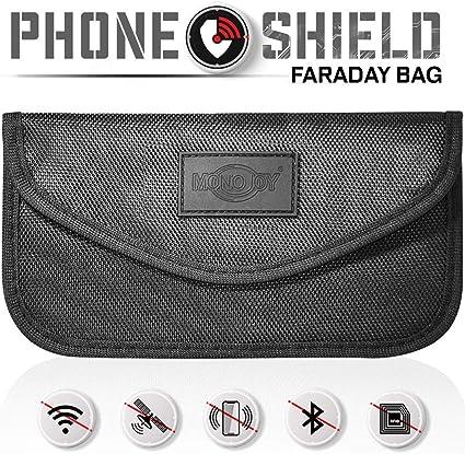 Large Phone Car Key Keyless Entry Fob Signal Guard Blocker Black Faraday Bag