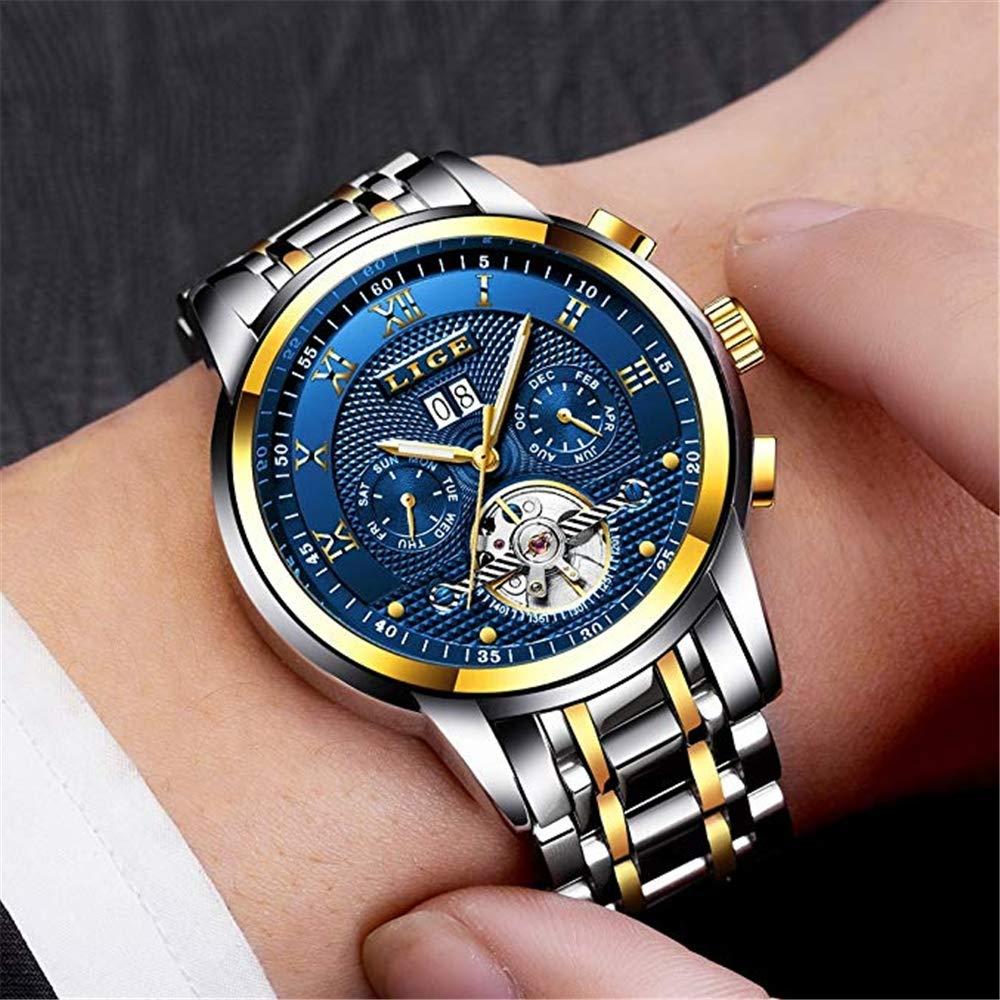 YSYDE Vattentät rostfritt stål automatisk mekanisk klocka affärsklänning kalender armbandsur galvaniserat fodral du bekväm bärupplevelse, guldblå Agoldblue
