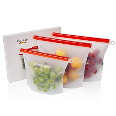 Reusable Silicone Ziplock Bags for Food Storage by Criss Elite - Clear Bags for Freezer, Sandwich, Snack, Lunch, or Fresh Vegetable or Fruits. Large (2x50 + 30 oz)
