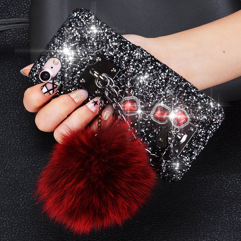 iPhone 6,iPhone 6s Case,IKASEFU Flash diamond hard Back Shockproof Luxury Sleek Glitter Sparkly Bling Shiny Cute with Plush Pom Pom Ball PC Thin Bumper Protective Cover for iPhone 6S/6,Red wine