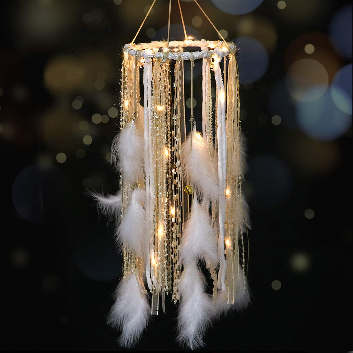 Dream Catcher Mobile Large Light Up Dream Catchers with Golden Shining Lace& Bells LED Fairy Lights Battery Powered Hanging Ornaments- 7.9Wx 22L Inches Feathers Wedding Boho Decorations Nursery Decor by Dremisland
