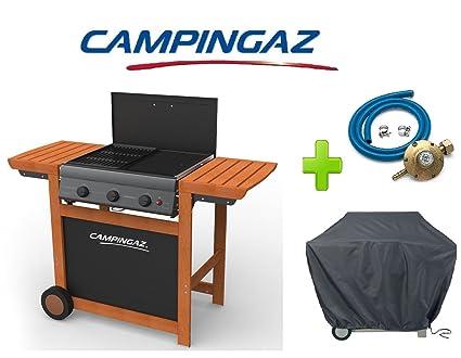 Barbacoa a gas GLP Adelaide Woody 3 Campingaz con quemadores fundido Campingaz + Kit Regulador Gas