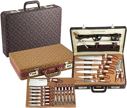 25 tlg. Juego de cuchillos de Royalty Line en el maletín de ...