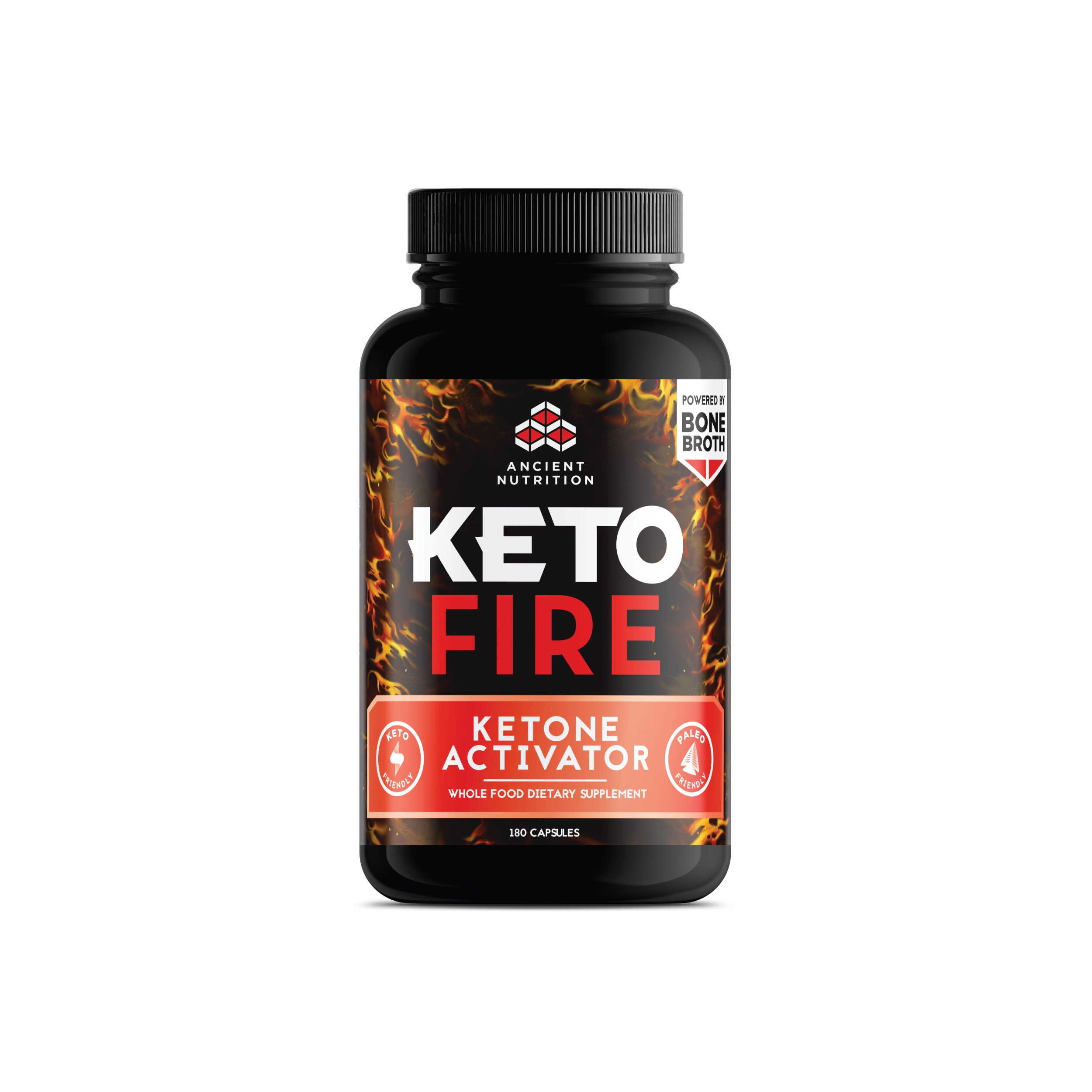 Ancient Nutrition KetoFIRE Capsules, Keto Supplement with BHB Salts as Exogenous Ketones, Electrolytes and Caffeine, Keto Diet, Ketosis Booster, 180 Count by Ancient Nutrition
