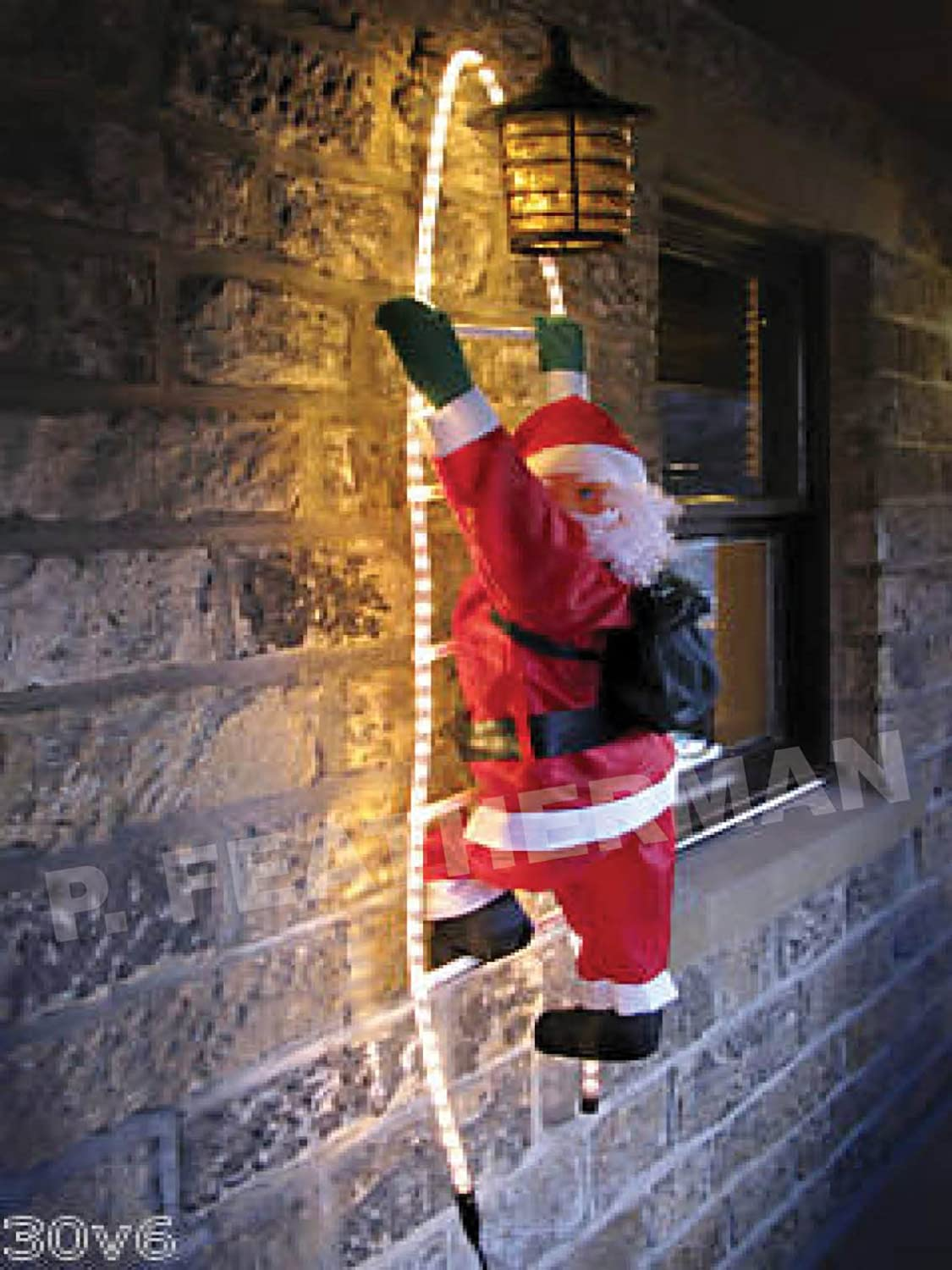 SCLL 3 90cm SANTA CLAUS Climbing On Light UP Rope Ladder   Outdoor  Christmas Decoration: Amazon.co.uk: Lighting