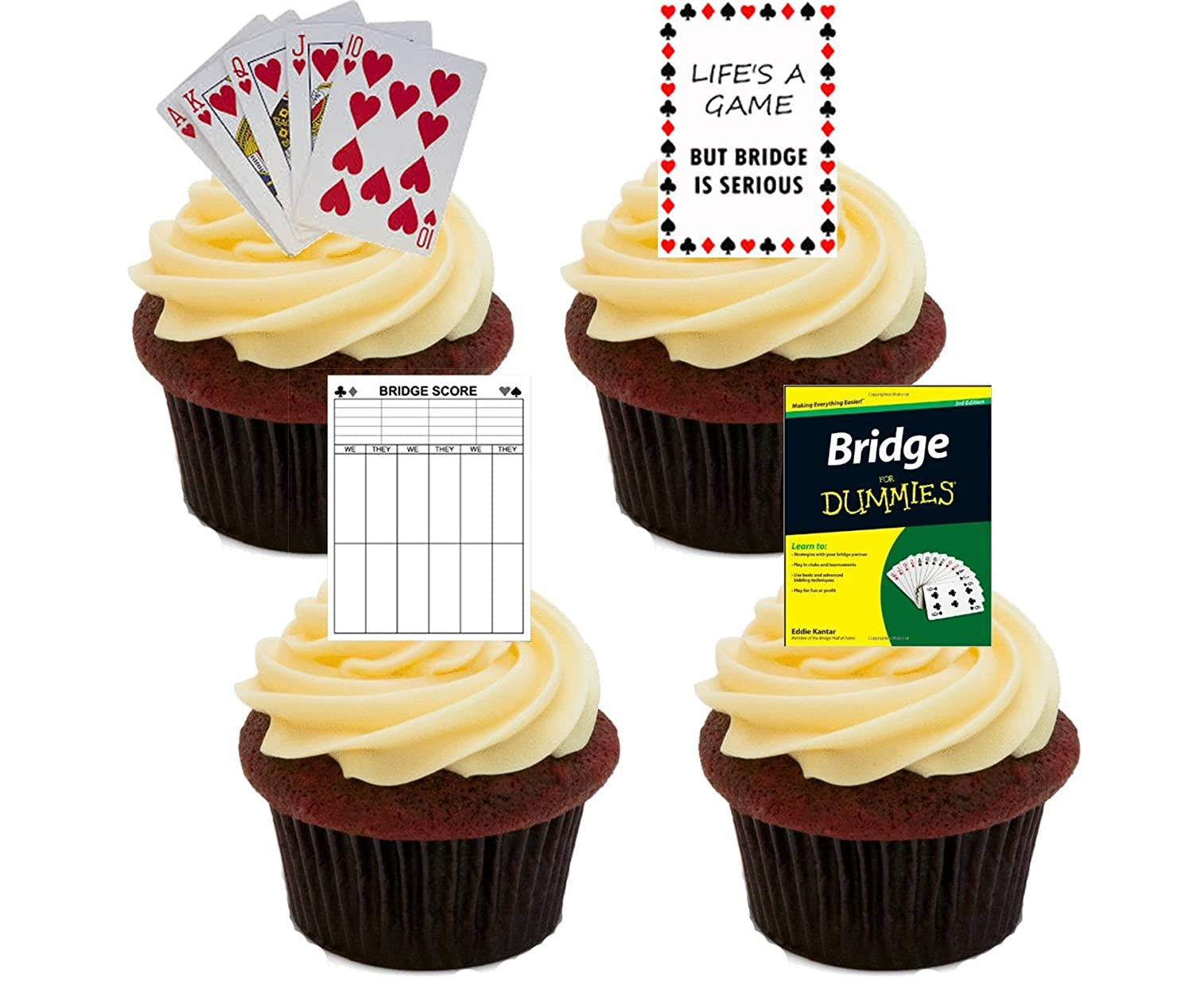 Bridge Card Game, Edible Cupcake Toppers - Stand-up Wafer Cake ...